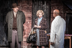 L-R George Khan (Ayub Khan Din), Ella Khan (Jane Horrocks) and Doctor (Karl Seth) in East is East, photo credit Marc Brenner
