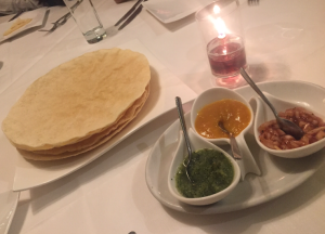 Popadom's and chutney's at Memsaab